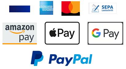 Schnell und sicher bezahlen mit Kreditkarte, Amazon Pay, Apple Pay, Google oder PayPal